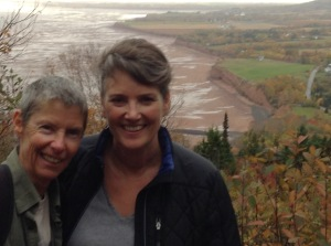 Barb and AM and picturesque Blomidon beach